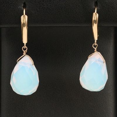 10K Opal Glass Drop Earrings