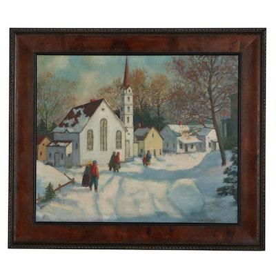 Gunnar Zetterström Winter Village Scene Oil Painting, Mid-20th Century