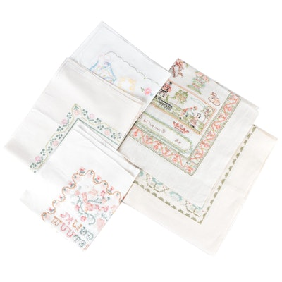 Cross-Stitched and Embroidered Needlework Samplers, Late 20th Century