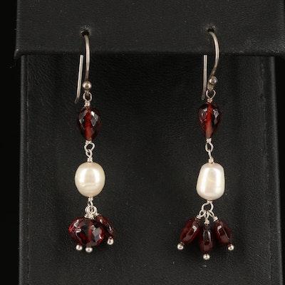 Sterling Garnet and Pearl Drop Earrings
