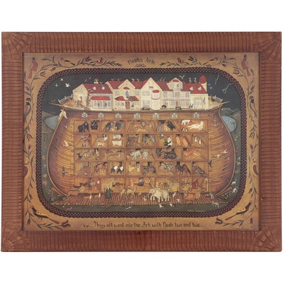 "Maria Pfropper Folk Art Offset Lithograph ""Noah's Animal House"""