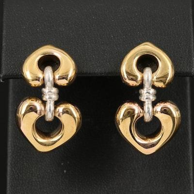 14K and Sterling Double Heart Earrings