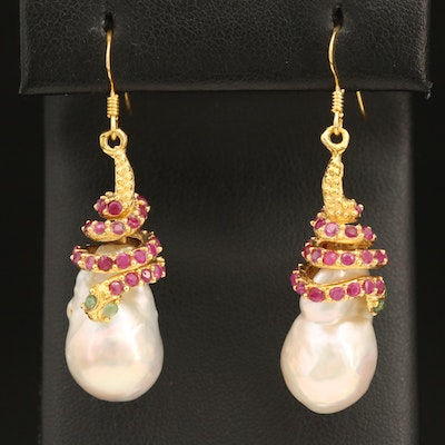 Sterling Snake Drop Earrings with Pearl, Ruby and Emerald