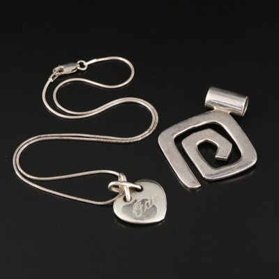 Sterling Heart and Spiral Pendants with Snake Chain