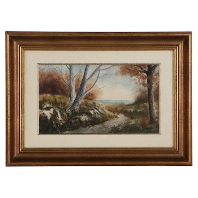 Joseph Baris Landscape Watercolor Painting, Mid-20th Century