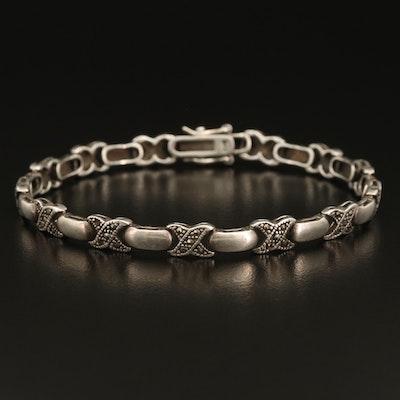 Sterling Marcasite Crossover Link Bracelet