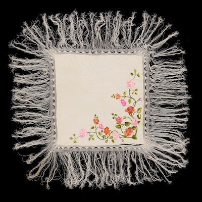 Floral Embroidered Satin Piano Shawl with Macrame Fringe, Mid 20th Century