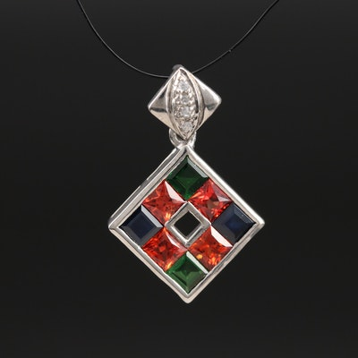 Sterling Sapphire, Tsavorite and Zircon Pendant