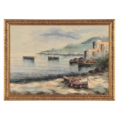 Coastal Landscape Oil Painting of Rowboats, Late 20th Century