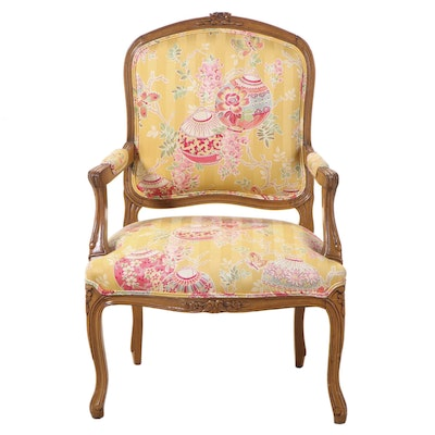 Louis XV Style Custom-Upholstered Beech Fauteuil