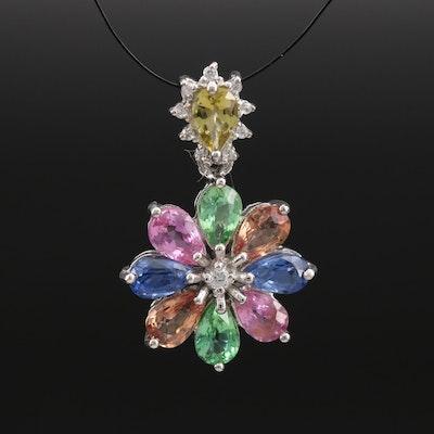 Sterling Tourmaline, Sapphire and Zircon Pendant