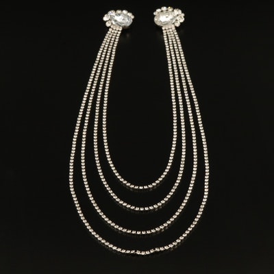 Rhinestone Multi-Strand Necklace with Brooch Attachements