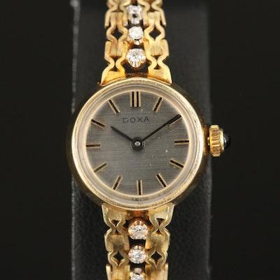 14K Doxa Diamond Stem Wind Wristwatch