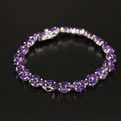 Sterling Amethyst Fancy Link Bracelet