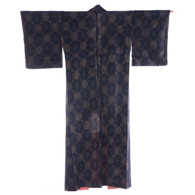 Foliate Hishi and Medallion Woven Tsumugi Kimono, Shōwa period