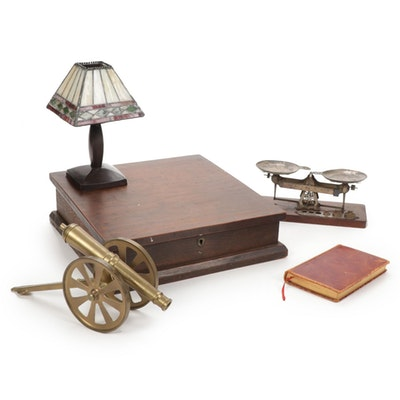 Brass Cannon, Slag Glass Votive Candle Holder, Mahogany Lap Desk and More