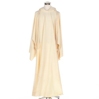 Plain Hooded Dalmatic in Cream Worcester Knit with Knotted Cotton Rope