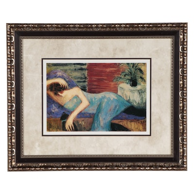 Barbara A. Wood Offset Lithograph of Reclining Woman, Late 20th Century