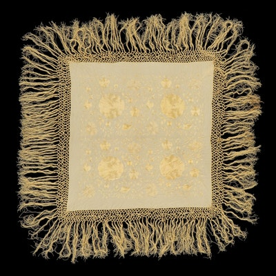 Floral Embroidered Silk Piano Shawl with Macrame Fringe, Early 20th Century