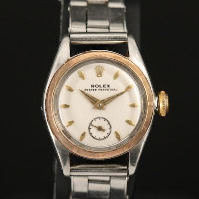 Vintage Rolex Bubbleback Model 5003 14K and Stainless Steel Wristwatch
