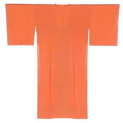 Japanese Orange Geometric Ama Raincoat, Shōwa Period