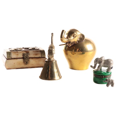 Indian Bone Hinged Box and Other Elephant Decorative Accessories