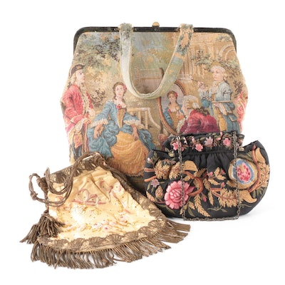 Ribbonwork Floral Silk Bullion Fringe Purse with Queen Fashion and Moyna Bags