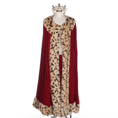 King Costume Cape in Faux Fur with Embellished Crown