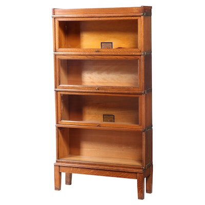 Globe-Wernicke Oak Four-Stack Sectional Barrister's Bookcase, Early 20th Century
