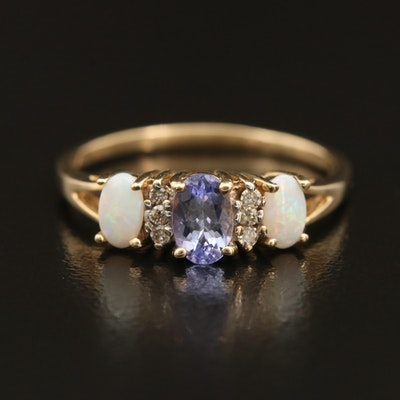 10K Tanzanite, Opal and Diamond Ring