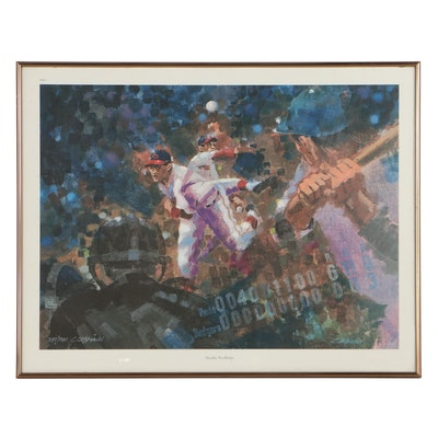 """Clint Orlemann Offset Lithograph """"Double No-Hitter,"""" Late 20th Century"""