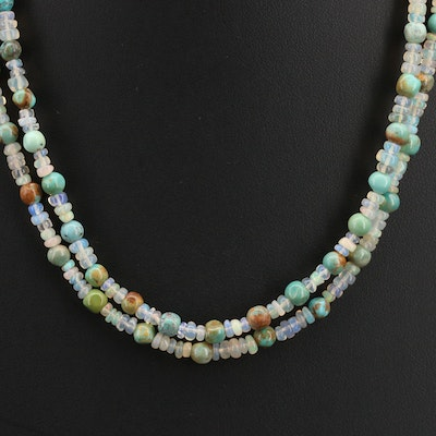Turquoise and Opal Double Strand Beaded Necklace with Sterling Clasp