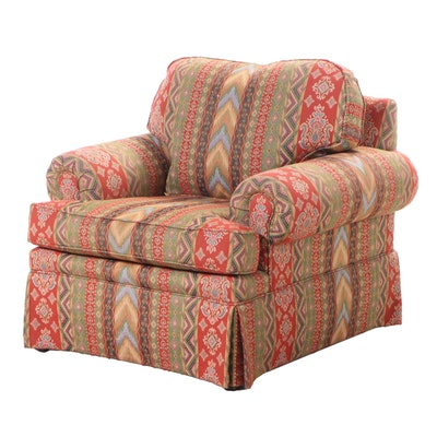 Custom-Upholstered Roll-Arm Easy Armchair