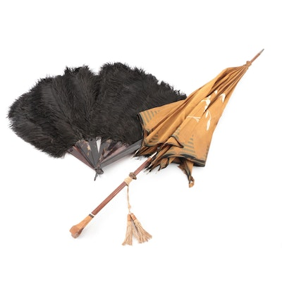 Black Ostrich Feather and Tortoiseshell Hand Fan with Floral Embroidered Parasol