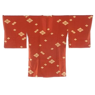 Japanese Michiyuki with Printed Floral Motifs, Shōwa Period