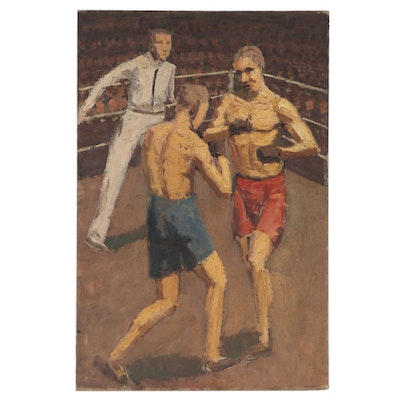 Double-Sided Oil Painting of Athletes, Mid-20th Century