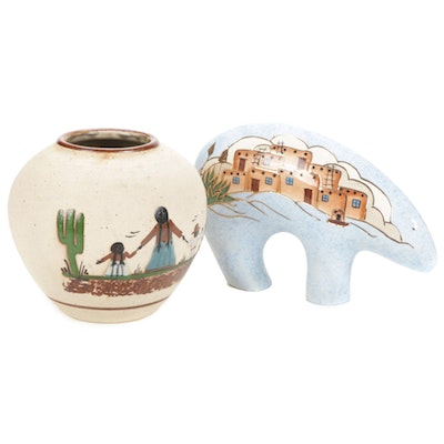 Hand Decorated Mexican Art Pottery Vase and Acoma Pueblo Made Bear Figurine