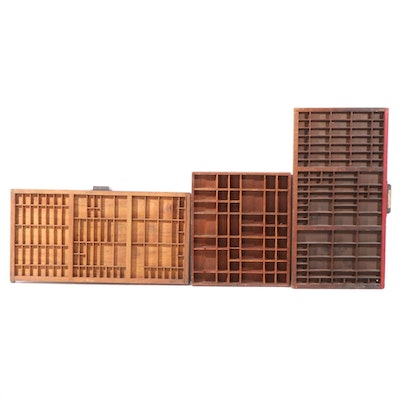 Hanging Wooden Printers Letterpress Drawers, Early to Mid 20th Century