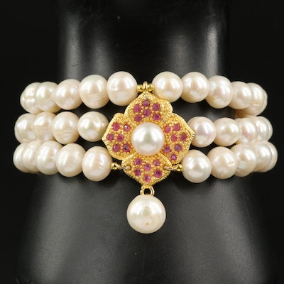 Sterling Ruby and Pearl Bracelet
