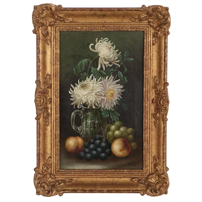 Edwin Steele Still Life Oil Painting of Fruits and Flowers, Late 19th Century