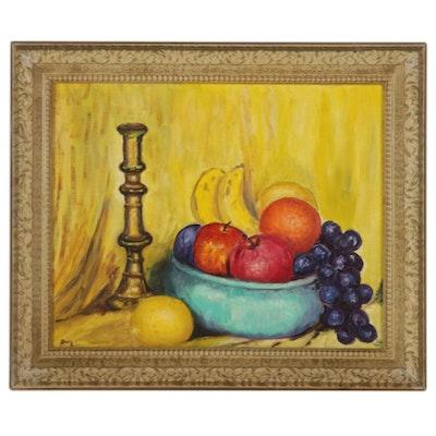 """Doris Fenton Copy Oil Painting """"Fruit Still Life,"""" 1967"""