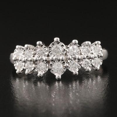 9K 0.38 CTW Diamond Graduated Illusion Set Ring