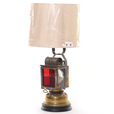 Converted Red Glass Signal Lantern Table Lamp