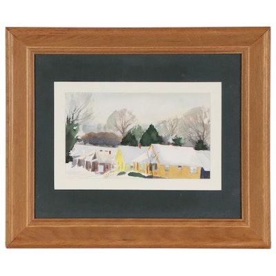 Watercolor Painting of Snowy Neighborhood, Late 20th Century