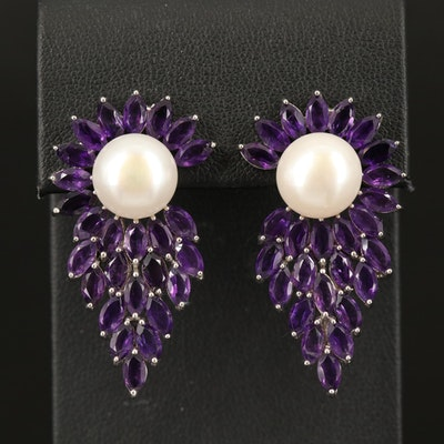 Sterling Pearl and Amethyst Earrings