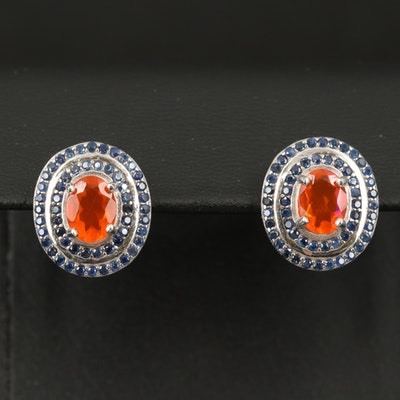 Sterling Fire Opal and Sapphire Earrings