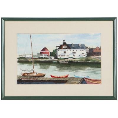 Amanda Eller Kirby Watercolor Painting of Harbor, Late 20th Century