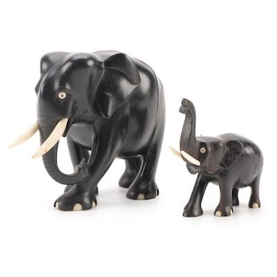 Carved and Ebonized Wood Elephant Figurines