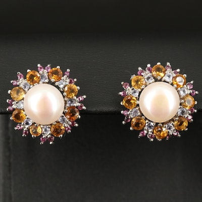 Sterling Pearl and Gemstone Button Earrings