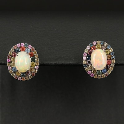 Sterling Opal Earrings with Sapphire Halos